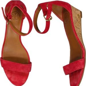 Tory Burch Suede Wedge Sandals: Carnival Red, 8.5.